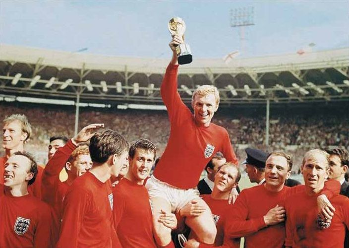 England winning the 1966 World Cup after beating West Germany 4 - 2 in the final.