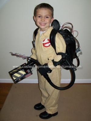 Ghostbusters Homemade Halloween Costume: My 5 year old son Chase is a huge Ghostbusters Fan. After Halloween last year we purchased a stock Ghostbuster costume online with the blow up backpack.