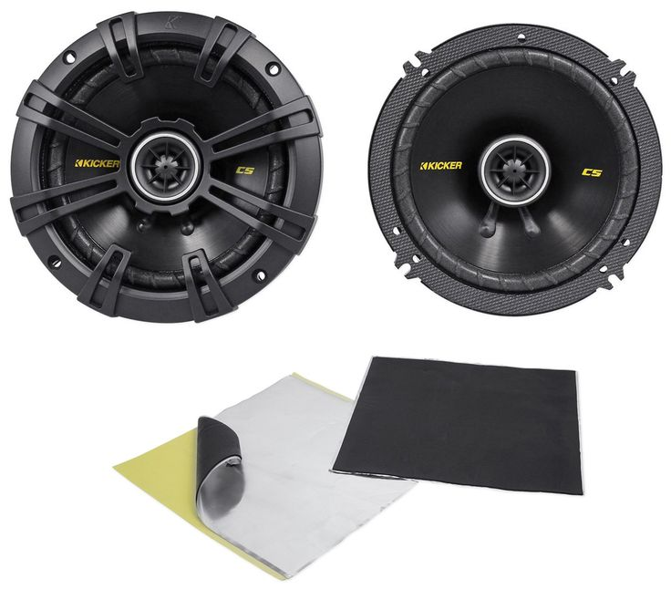 """Package: Pair of Kicker 40CS654 6.5"""" 4-Ohm 2-Way Car Audio Coaxial Speakers Totaling 600 Watt + Rockville Rockmat RM2 Sound Dampening Speaker Deadening Kit (2) 12"""" x 12"""" Sheets. 6-1/2"""" 300 Watt 4-Ohm 2-Way Car Audio Coaxial Speakers. 600 Watts Peak Power Total Per Pair / 300 Watts Peak Power Per Speaker. 200 Watts RMS Total Power Per Pair / 100 Watts RMS Per Speaker. Reliable, remarkable-sounding coaxial for easy drop-in, factory upgrades. Reduced-depth baskets allow fitment into…"""