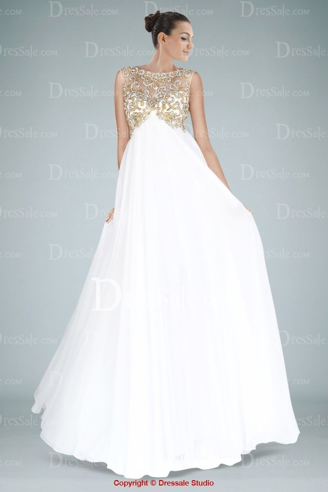 Absorbing Illusion Neckline Evening Dress Featuring Beaded Appliques and Crossed Back