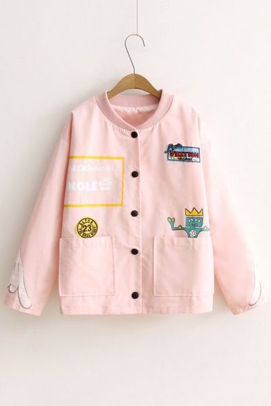 Cartoon Letter Pattern Long Sleeve Buttons Down Coat with Double Pockets