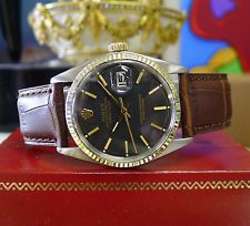 Para hombre Vintage Rolex Oyster Perpetual Datejust Acero Oro Negro Dial Watch