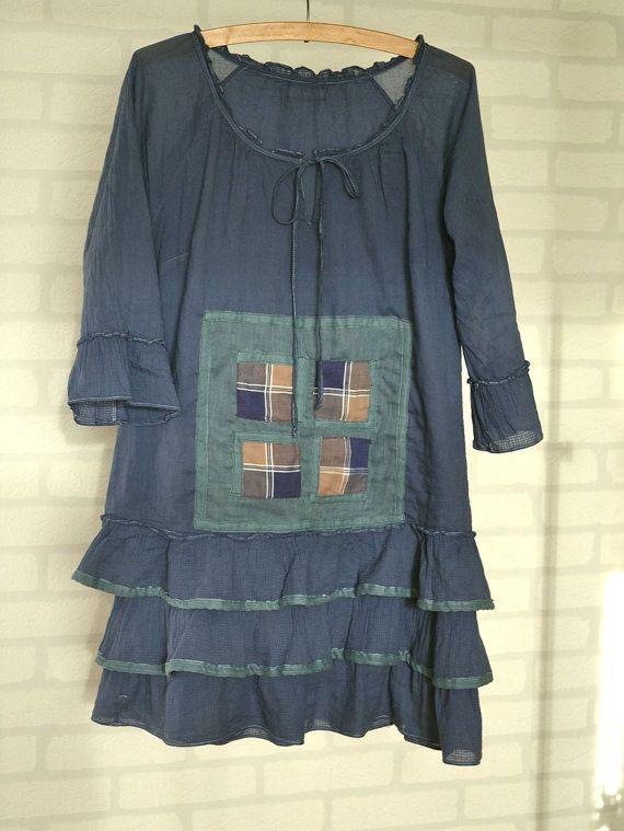 Upcycled Kleidung, blaues Kleid, Baumwolle, Boho, Anwendung Patchwork, Recycling Kleid