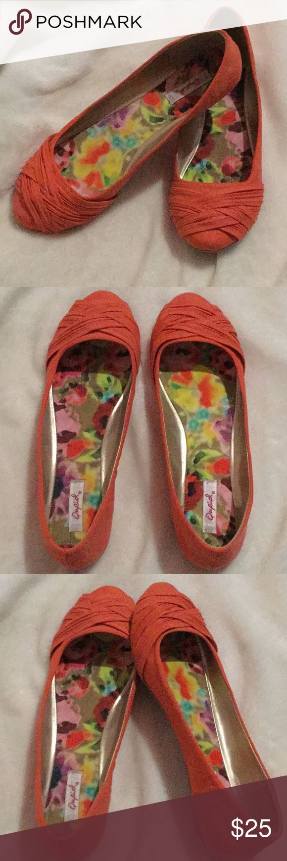 Coral Flats Coral flats with floral print in soles. Never worn. Qupid Shoes Flats & Loafers