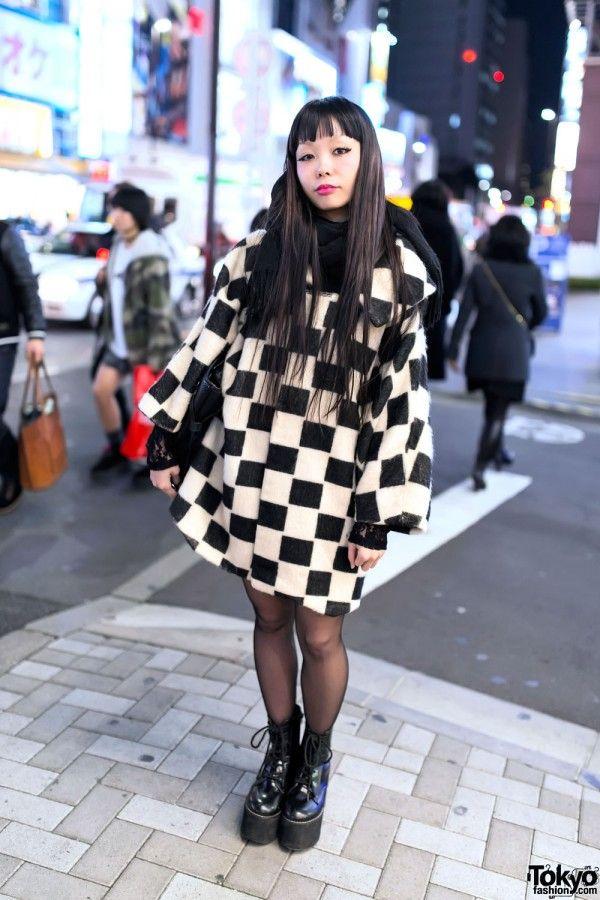 Checkered Coat, Vivienne Westwood Bag & Murua Boots in Harajuku - Tokyo Fashion News