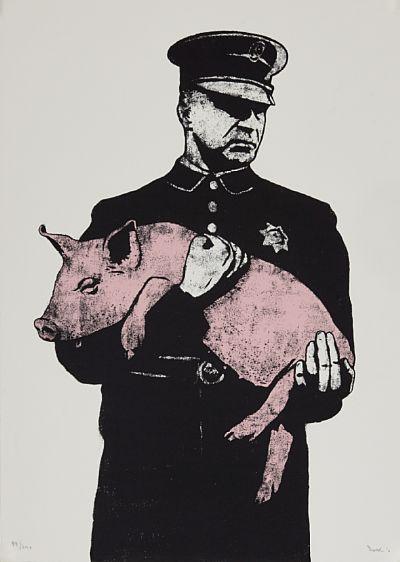 """DOLK """"Pig"""" 2010 Fargeserigrafi, 49/250. 70x50 cm (papirmål) Signert og datert nede til høyre: Dolk 10"""