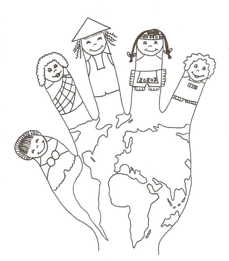 DIA DE LA PAU: Roser, la mestra de la classe del Elefants, ens ha portat un dibuix d'una bola del món amb forma de mà. En els ditets estan representat tots els xiquets i xiquetes del món:
