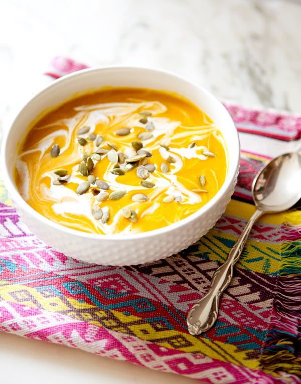 CURRIED PUMPKIN AND BUTTERNUT SQUASHSOUP - a house in the hills