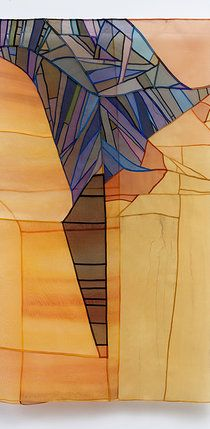 "Leonie Castelino--Windswept: Contemporary Bojagi. Silk organza Pieced, Gekki seams. In Flight. In Flight Contemporary Bojagi 26x41"" [Website link no good, unfortunately)"