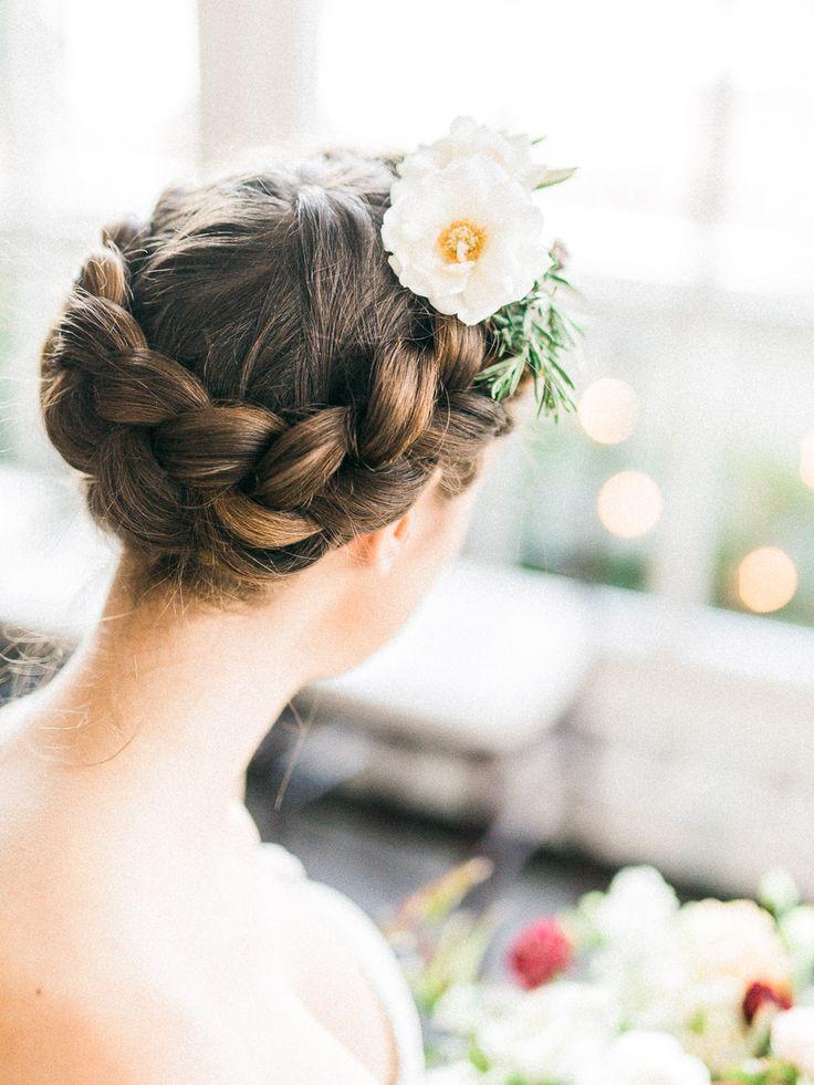bridal updo, braid bridal updo, flower braid, langdon hall wedding, Cambridge wedding