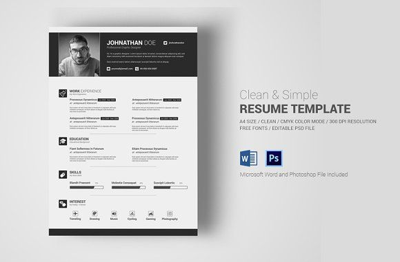 Simple Resume / CV With MS Word by Creative Shop on @creativemarket