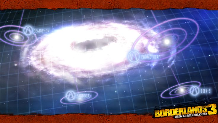 Borderlands 3 will take us to different planets, therefore this Borderworlds Wallpaper showcases a star map of a galaxy filled with vaults to hunt