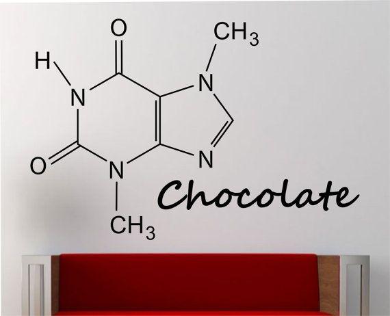 Chocolade molecuul muur sticker Vinyl Sticker Art Decor slaapkamer ontwerp muurschildering onderwijs wetenschap educatieve geek nerd leren creatieve kunst