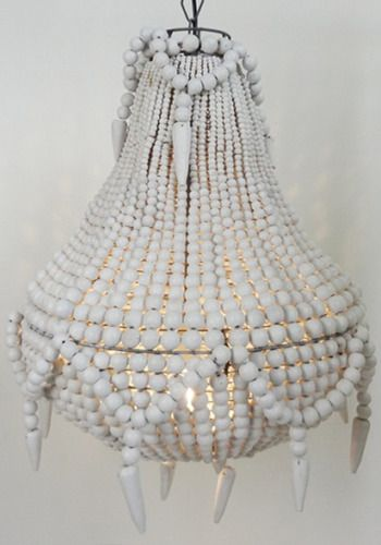 Handmade beaded chandelier, White from www.bodieandfou.com