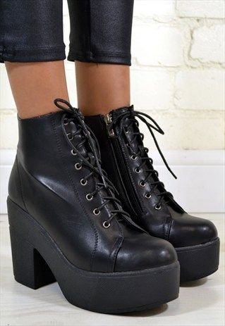Black Chunky Heel Ankle Booties