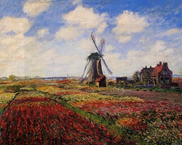 "#Impressionism -- ""A Field Of Tulips In Holland"" -- 1868 -- Claude Monet -- Muse'e d'Orsay -- Paris"