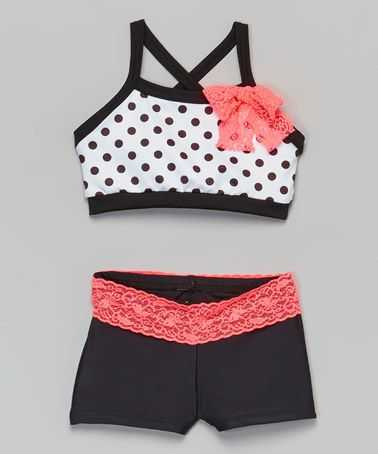 Another great find on #zulily! White Polka Dot Crop Top & Black Lace Shorts - Girls #zulilyfinds