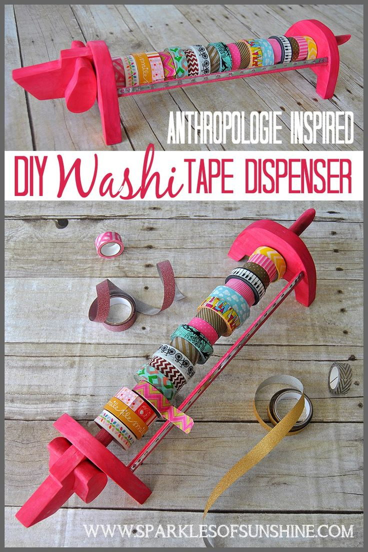See how Christie at Sparkles of Sunshine, after being inspired by Anthropologie, decided to make her own DIY Washi Tape Dispenser.