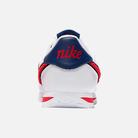 info for d94c5 9ff10 Back view of Boys  Grade School Nike Cortez Basic Leather SE Casual Shoes  in White University Red Blue Void