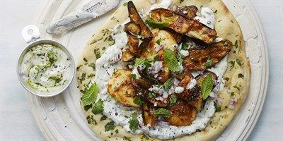 Try this Grilled Halloumi and Aubergine Wraps with Herbed Yoghurt recipe by Chef Anjum Anand .
