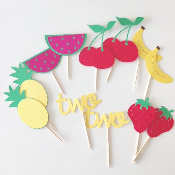 Two cupcake toppers 12 per order twotti fruity by SEVENTHandJ