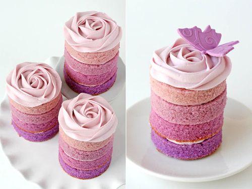 mini ombre cakes... so prettyPurple Ombre, Fun Recipe, Minis Dog Qu, Ombre Minis, Bridal Shower, Cookies Cutters, Rose Cake, Minis Cake, Pink Cake