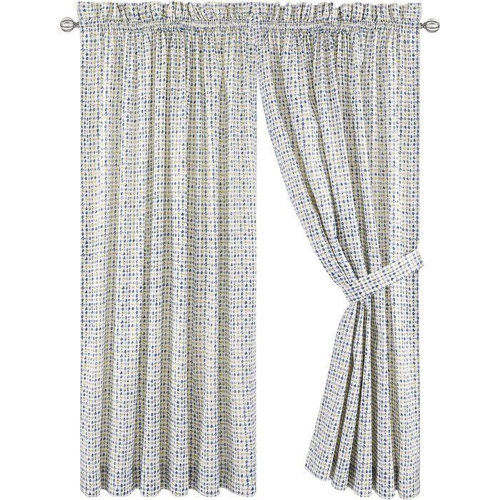 Breckan Tailored Plaid & Check Semi-Sheer Rod Pocket Curtain Panels