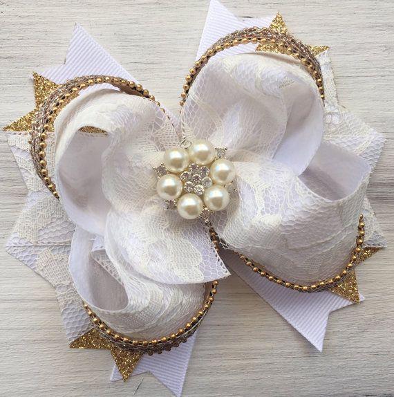 nias de blanco y oro arco del pelo arco del boutique arco blanco