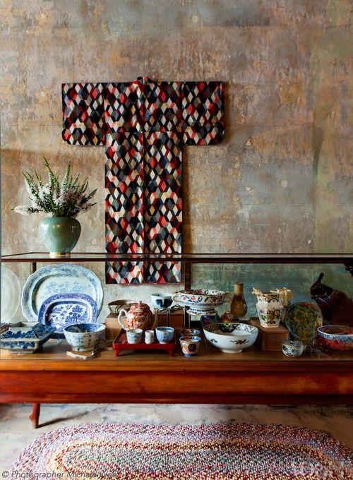 1930s Japanese silk meisen kimono - Chee Soon & Fitzgerald in Sydney's Redfern