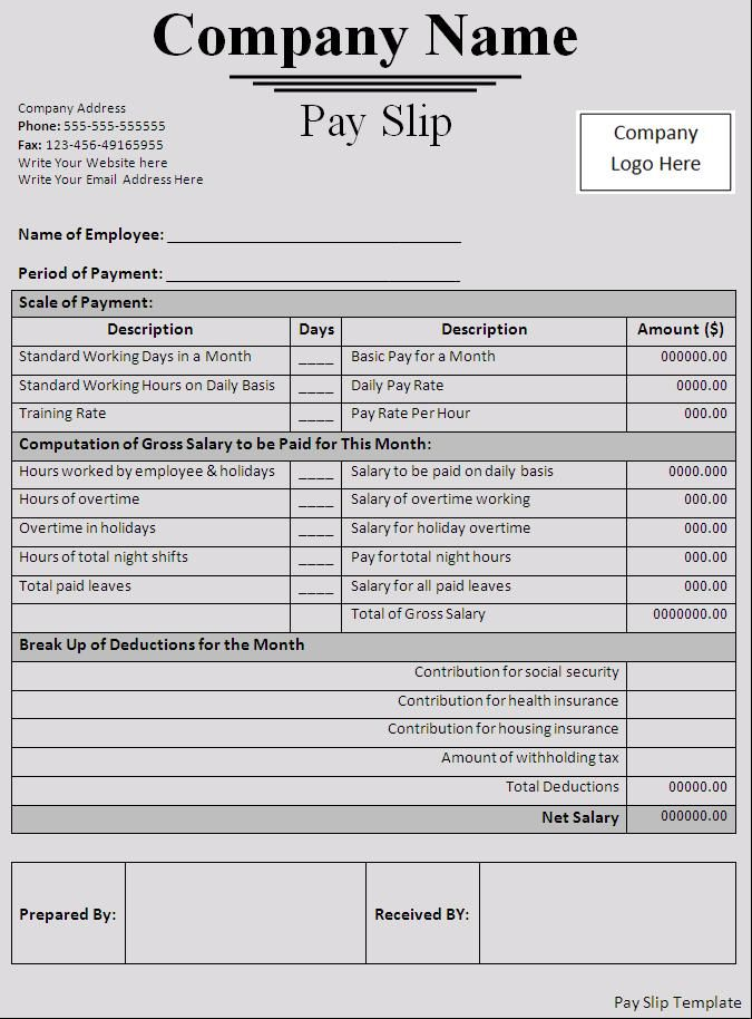 Editable Monthly Salary Slip Template Example with Table Format and Company Name at The Top : Thogati