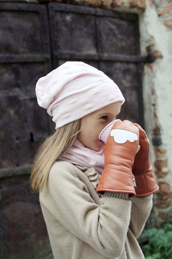 Childrens leather mittens  Cognac/White   Warmest and sweetest mittens for winter!
