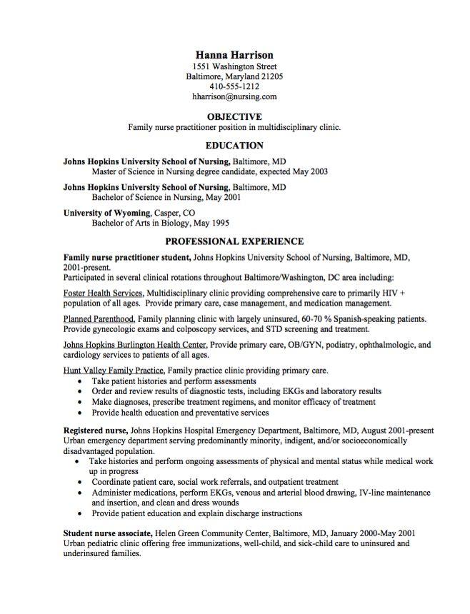 samples of fnp resume