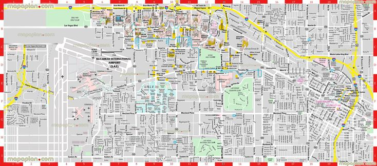las vegas hotel map with distance