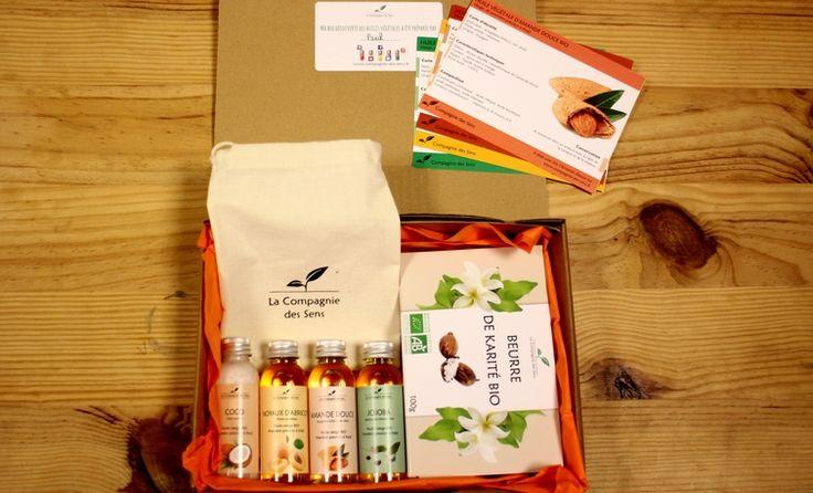 Découvrez notre box découverte des huiles végétales ! 4 huiles végétales et un beurre de Karité vous sont fournis pour commencer masque pour le visage, baume pour le corps ou tout simplement leurs bienfaits pour les cheveux ! #BIO #box #huilesvegetales