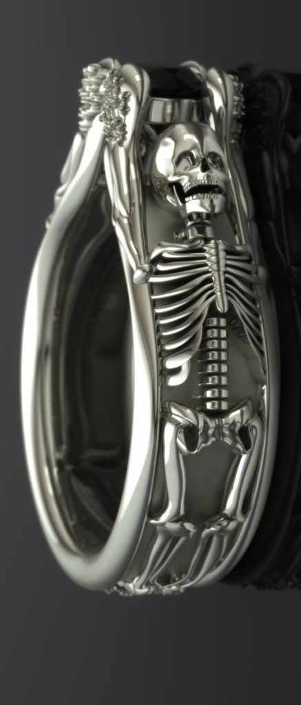 but i nEED IT black diamond skeleton engagement ring - imagesjewelers [etsy]