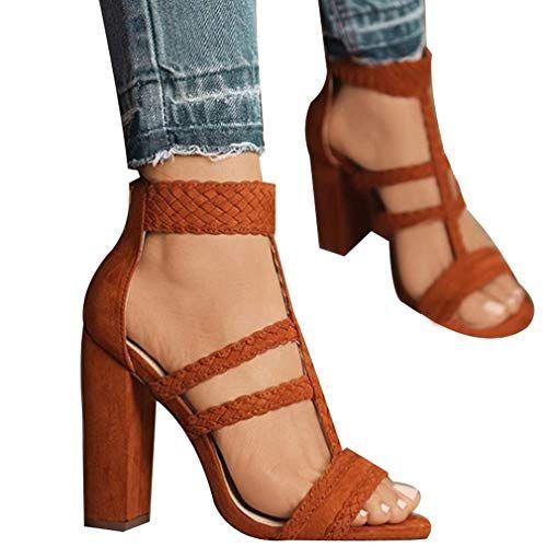 9d690a334426d8 Femme Sandales à Talon Carré Boucle Sandales Boucle Sandales Élégant Talon  épais Chaussures à Haut Talon