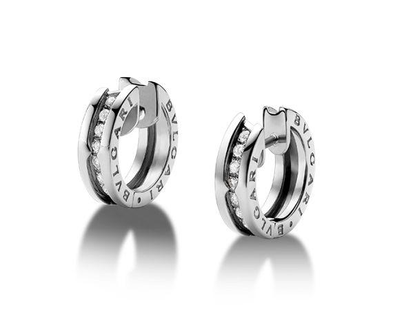 Bulgari B.zero1 Earrings - 18kt White Gold pavé diamond earrings