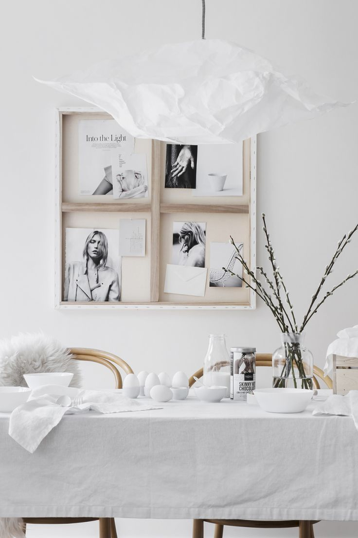 A creative way of hanging artwork in an easter setting - via cocolapinedesign.com