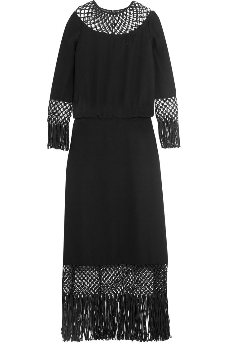 Fringed macramé-paneled silk-crepe dress   VALENTINO   Sale up to 70% off   THE OUTNET