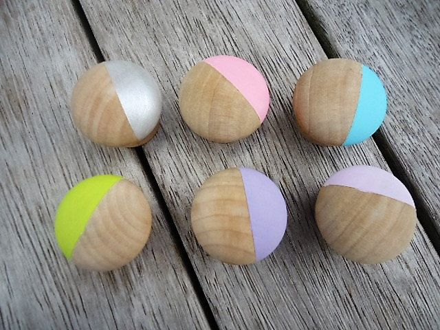 Handpainted small wooden Knobs - Set of 6 by MYMIMISTAR on Etsy