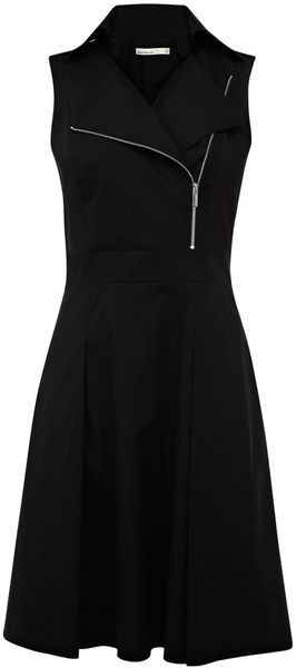 Karen Millen Black Zip Biker Dress