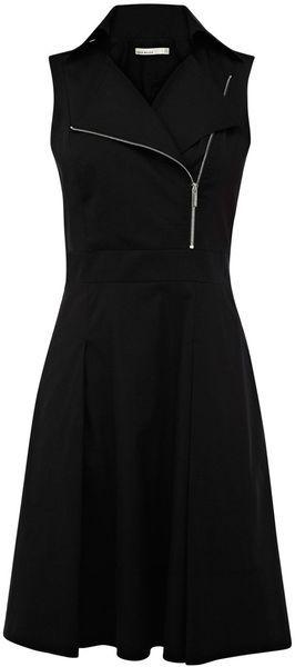 Karen Millen All Black Zip Sleeveless Biker Dress   summer fall style