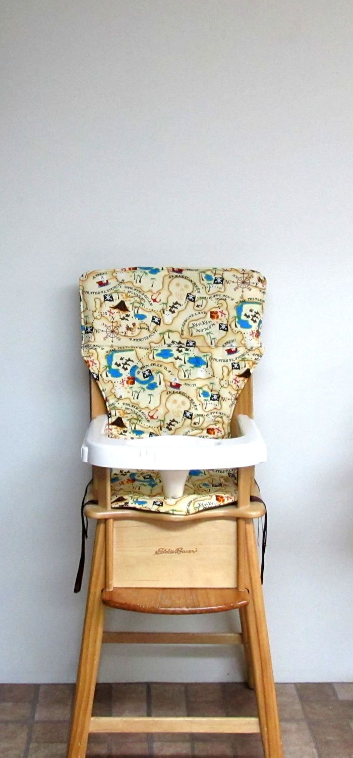 chair cushion, eddie bauer high chair cover, jenny lind chair pad, feeding chair, treasure map, nursery furniture, kids and baby furniture by SewingsillySister on Etsy