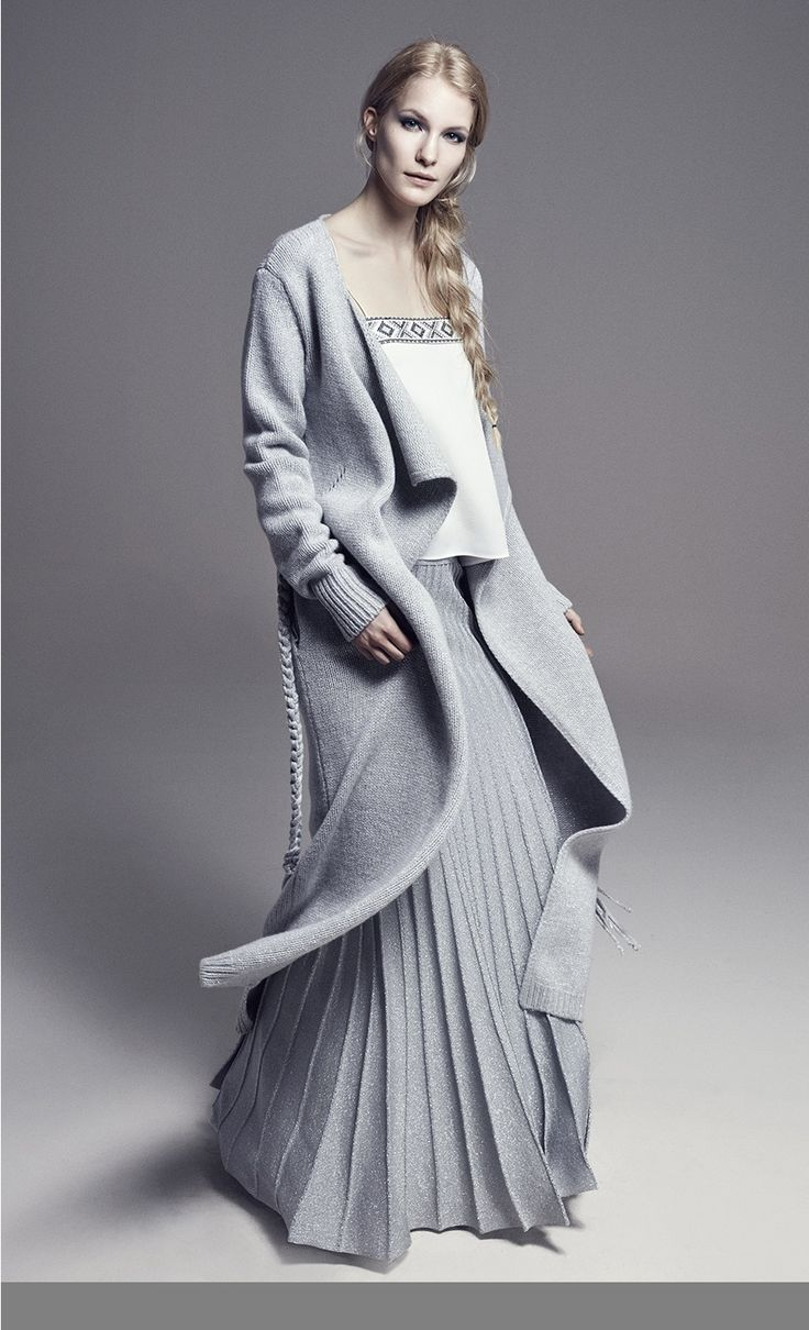 JANE - Silk Crepe Cami w/Spaghetti Straps and Embroidery on Neckline.......................................JOAN - Long Wool Metallic Knit Cardi Coat................................ BIANCA - Plise Long Metallic Knit Skirt