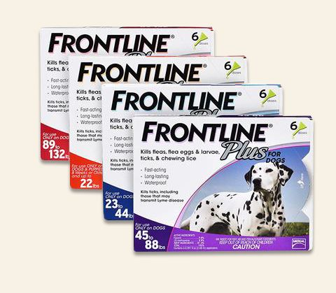 Frontline for dogs provides fast, effective, and convenient control of fleas, flea eggs, and larvae, ticks, chewing lice, and sarcoptic mites.  Frontline plus for dogs is long-lasting, waterproof and an be used on all dogs 8 weeks or older.  When used monthly, Frontline Plus for Dogs completely breaks the flea life cycle and controls flea, tick and chewing lice infestations.