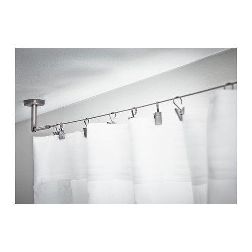 DIGNITET Câble d'acier IKEA Set complet avec fixations et câble pour rideaux. Prêt à être monté au mur ou au plafond.