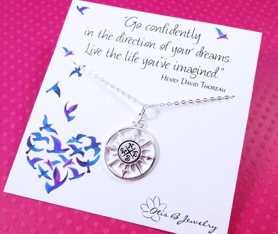 Compass necklace, graduation gift for her, graduate gift, college graduation, Go confidently in the direction of your dreams, Thoreau quote