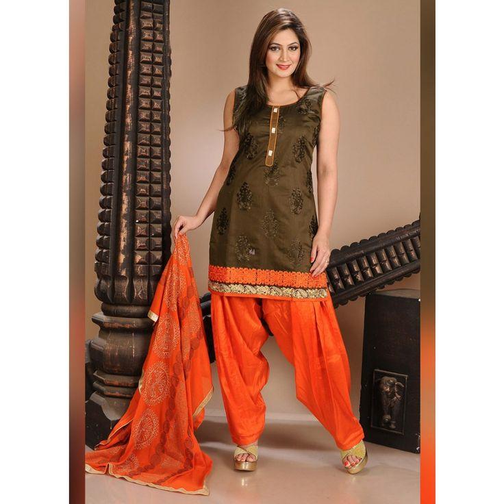 Brown Art Silk Readymade #Patiyala Kameez With Dupatta- $44.96