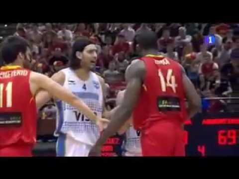 Serge Ibaka and Luis Scola act like they want to fight for two minutes. Hilarious to watch, but we knew they weren't going to fight.