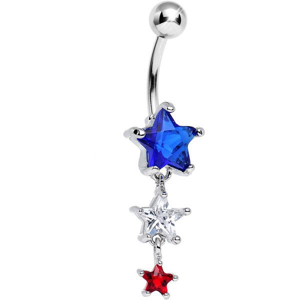 Red White and Blue Gem Patriotic American Stars Dangle Belly Ring ❤ liked on Polyvore featuring jewelry, star jewelry, gem jewelry, american jewelry, gemstone jewellery and dangling jewelry